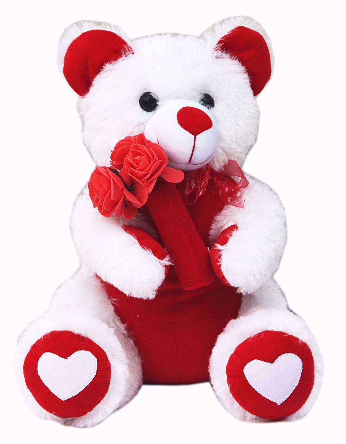White Teddy with Roses, teddy bear with rose online