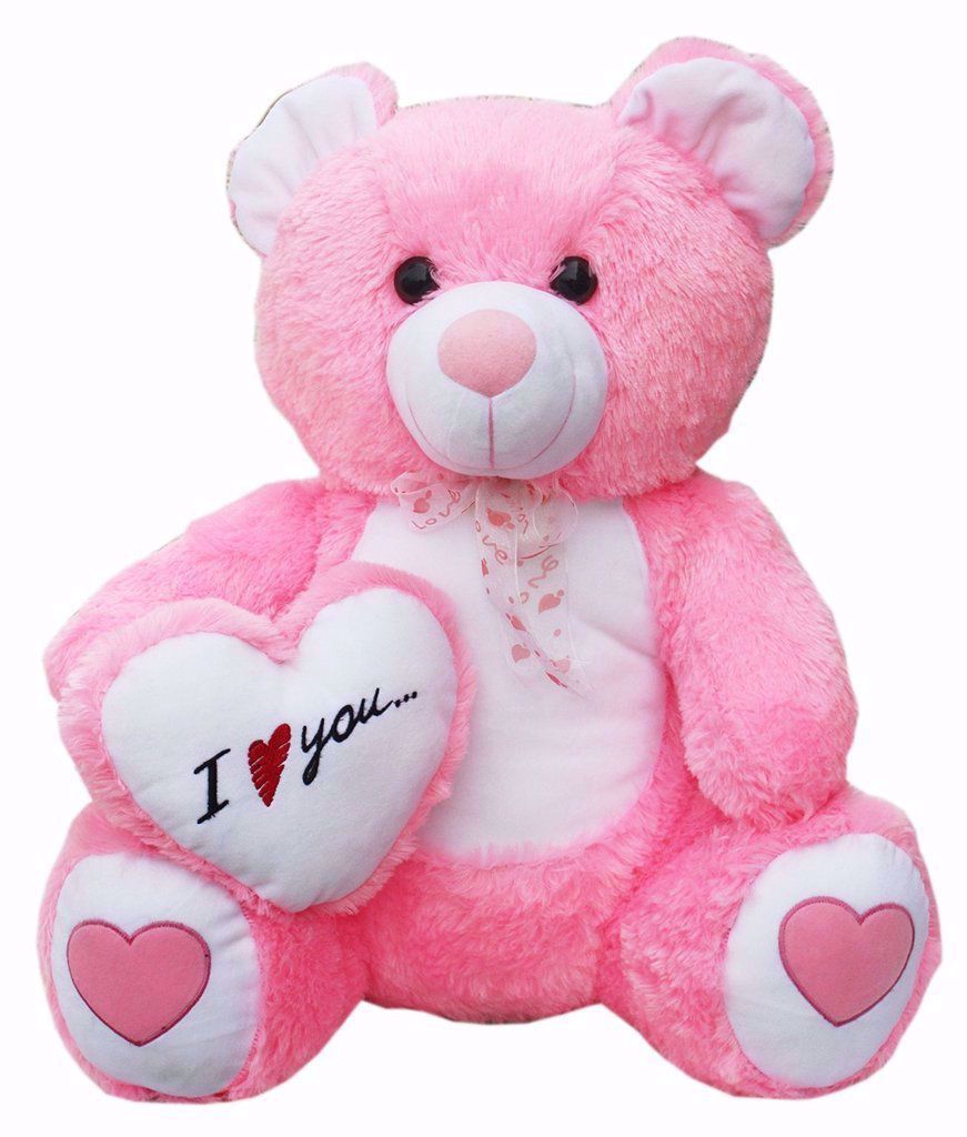 Teddy with I Love You Heart, Pink, lovers day teddy bear online