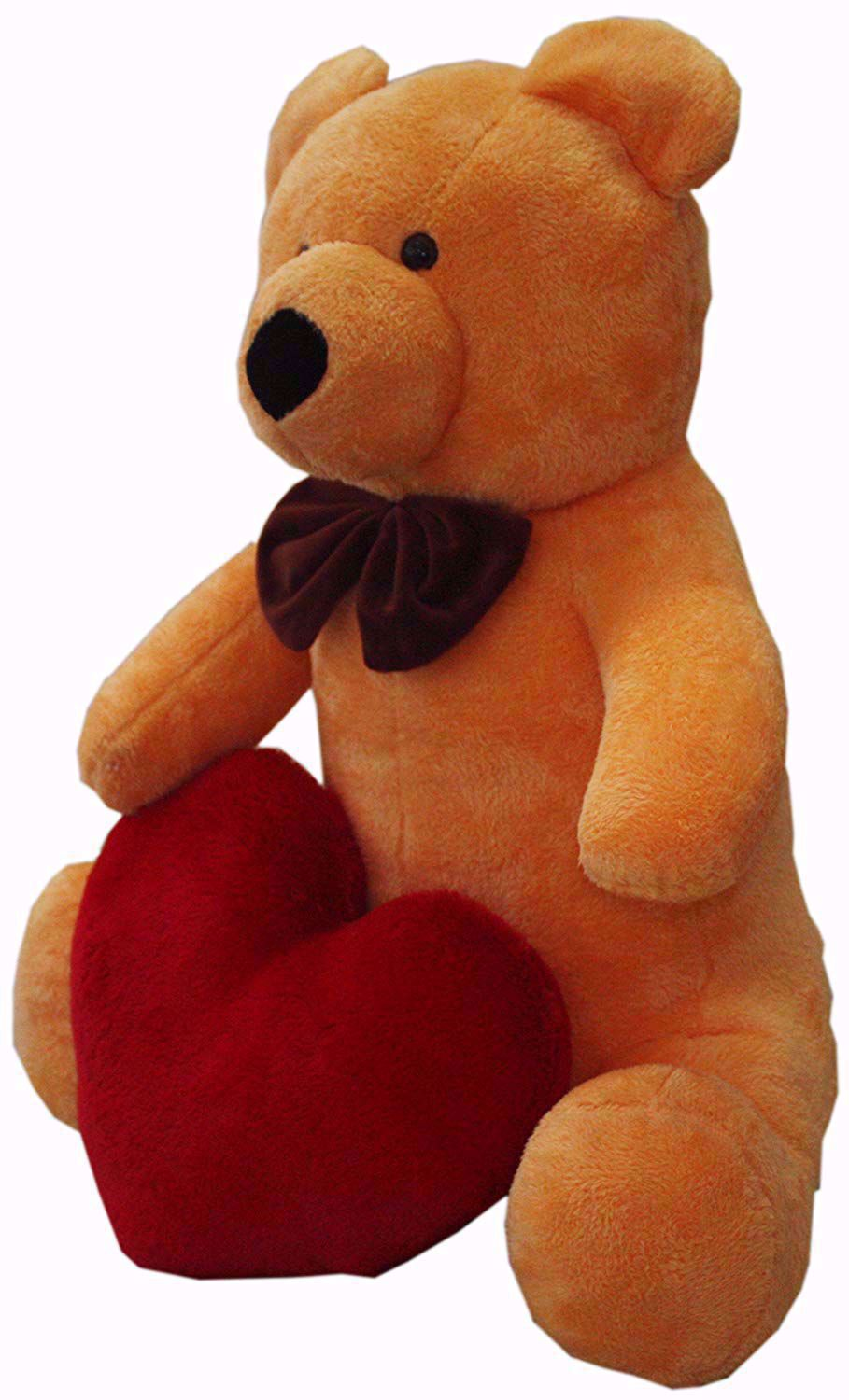 Super soft Teddy with Red Heart, Pumpkin Orange,,red teddy bear with heart online