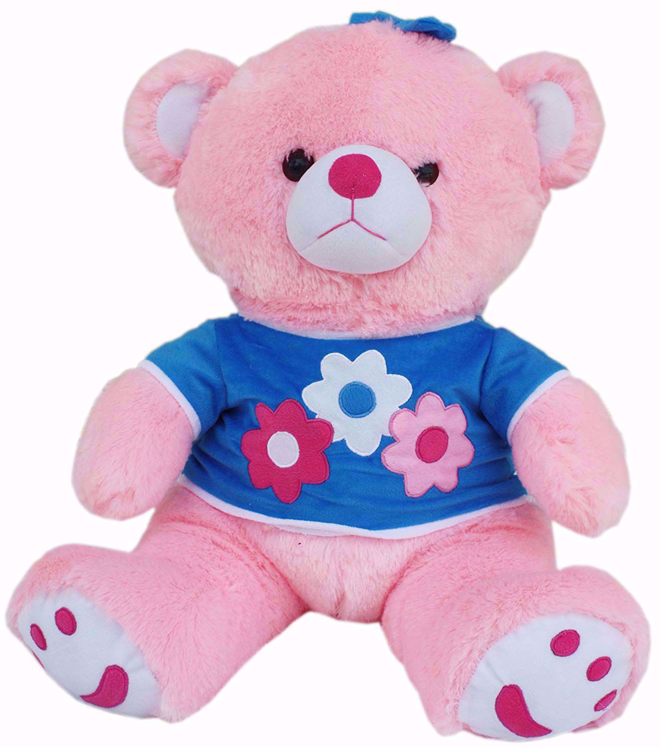 Super Soft Pink Teddy With Blue Shirt Teddy Bear 45 cm,teddy bear t shirts onlinde