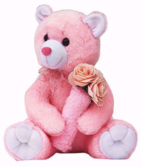 Pink Teddy with Roses 30cm, pink teddy with roses online