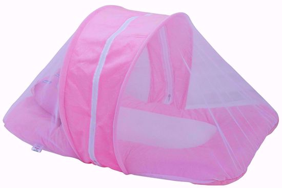 Toddler Polyester Mattress With Mosquito Net (Pink),baby bed with net online