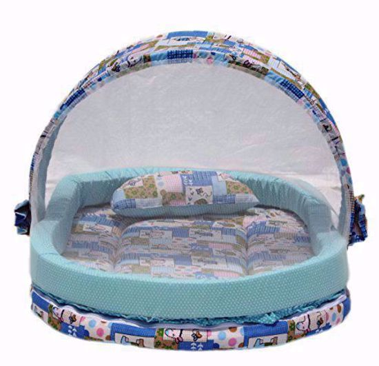 Mattress with Mosquito Net and Bumper Guard Animal (Blue) - MT-06-blue-animal-print,cute mosquito net online