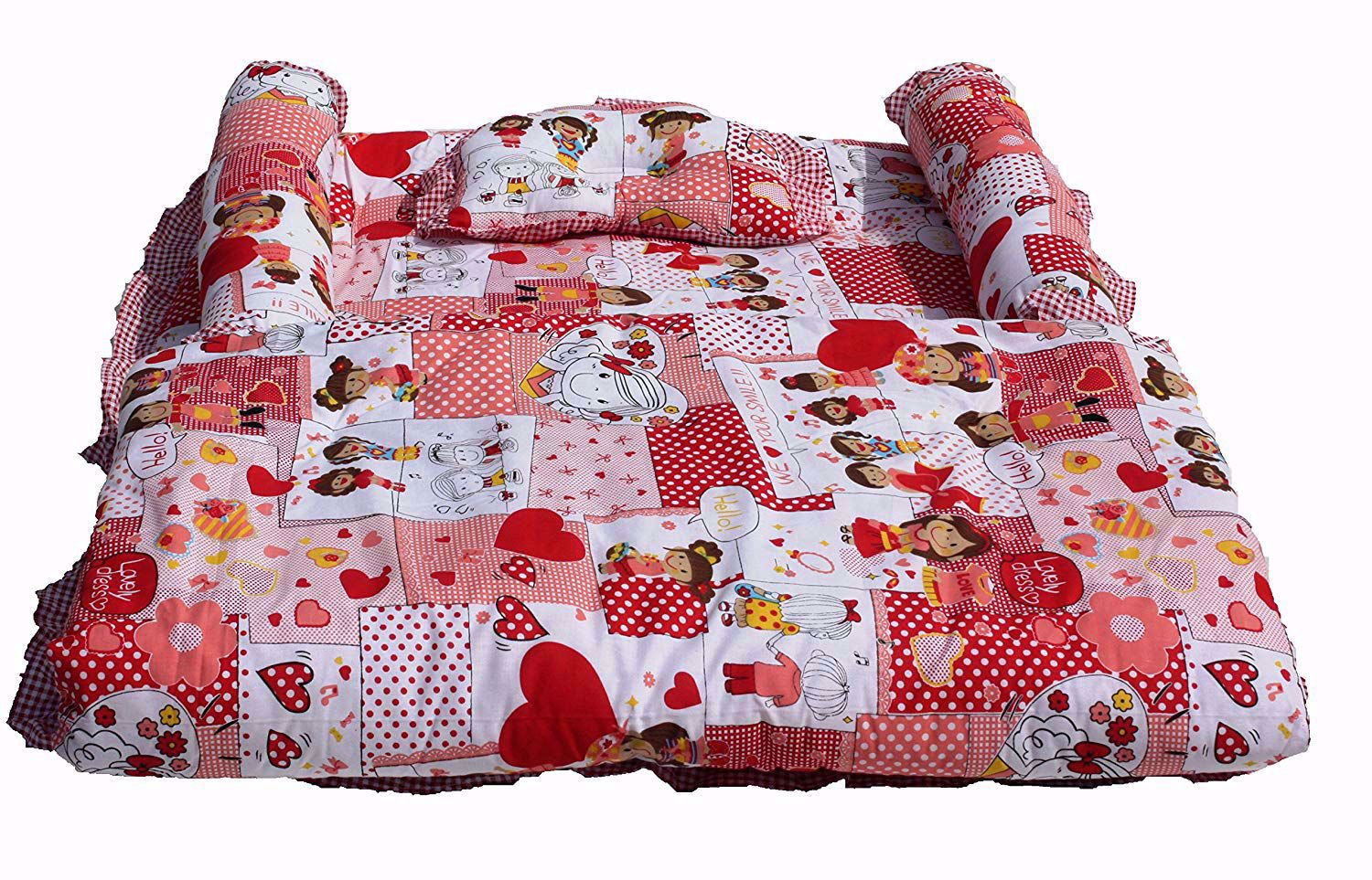 Baby Mattress with Quilt Collage (Red) - mt03-red-collage,baby cot bedding sets sale online