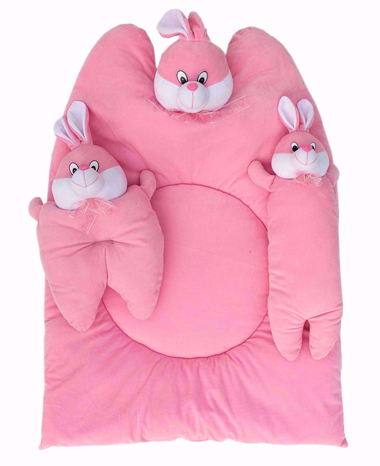 Bunny Mattress with Bolsters and Pillow (Pink) - MT-09_Pink_Bunny,baby girl crib bedding online