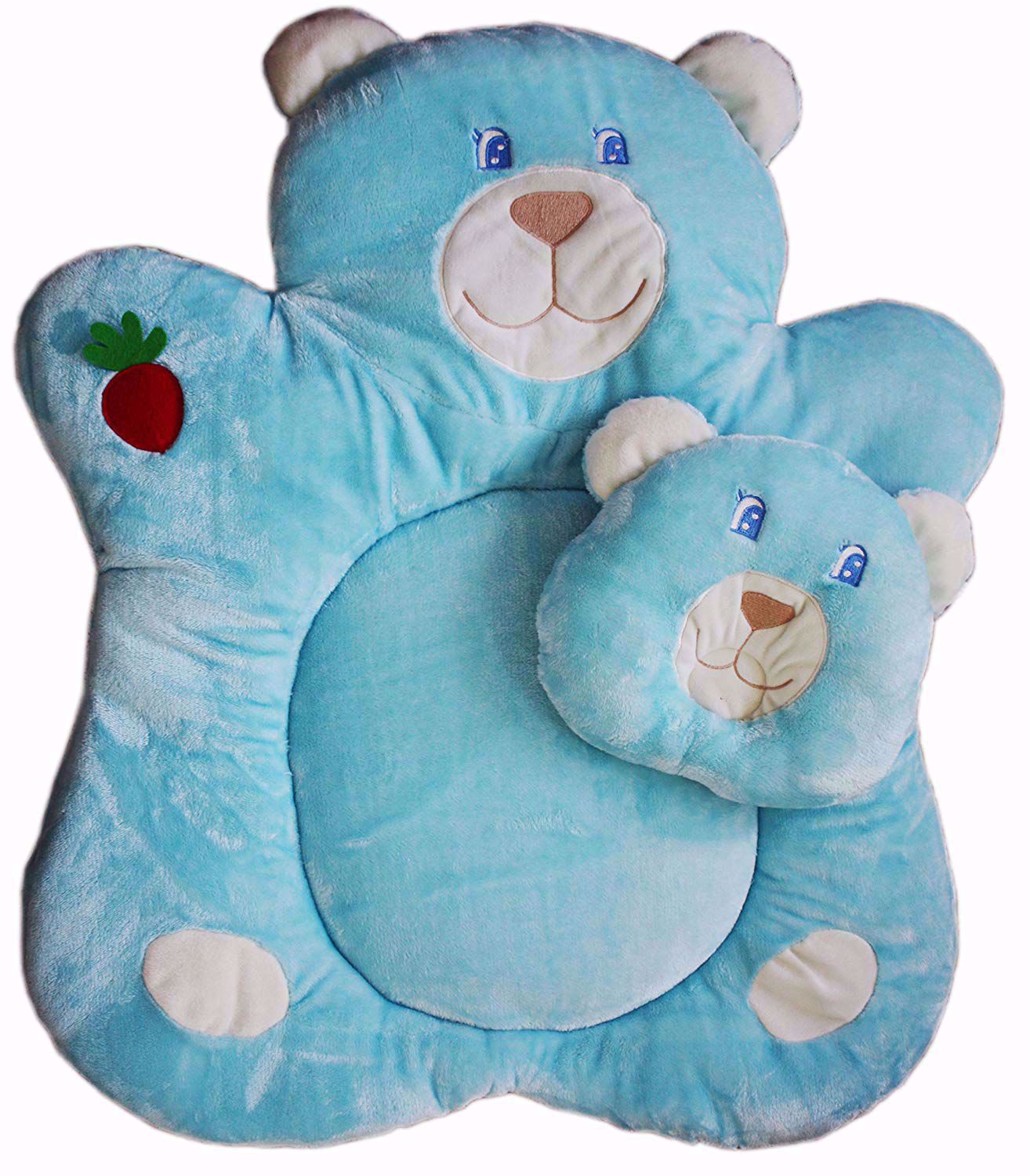 Super Soft Teddy Baby Bedding Set with Pillow, Blue,cute baby bedding sets online