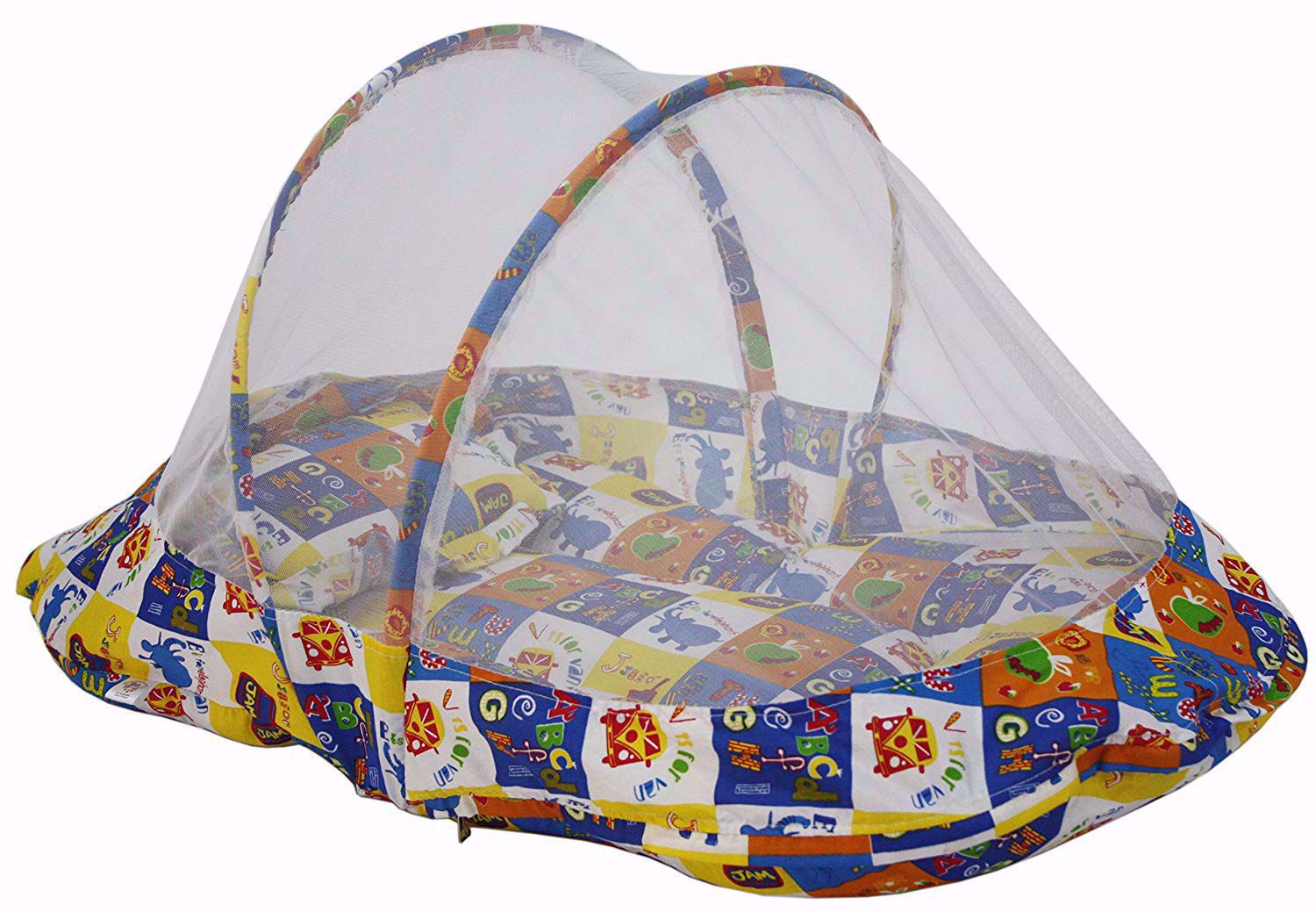 ABC Collage Baby Mattress with Mosquito Net, Blue,baby mattress with mosquito net, online