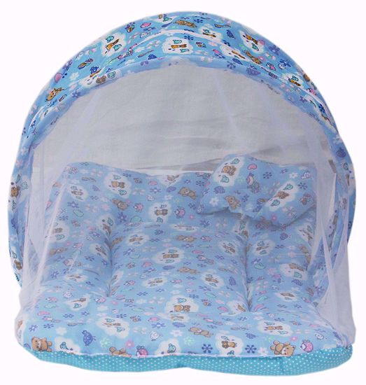 Baby Mattress with Mosquito Blue
