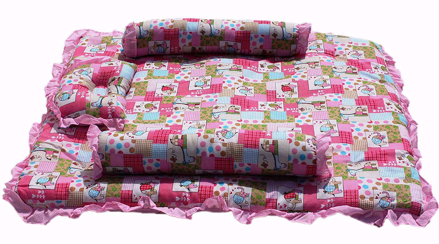 Baby Mattress with Quilt Animal (Pink) - MT 03-Pink-Floral,shop now at,best lowest price at india. www.babyjoys.in