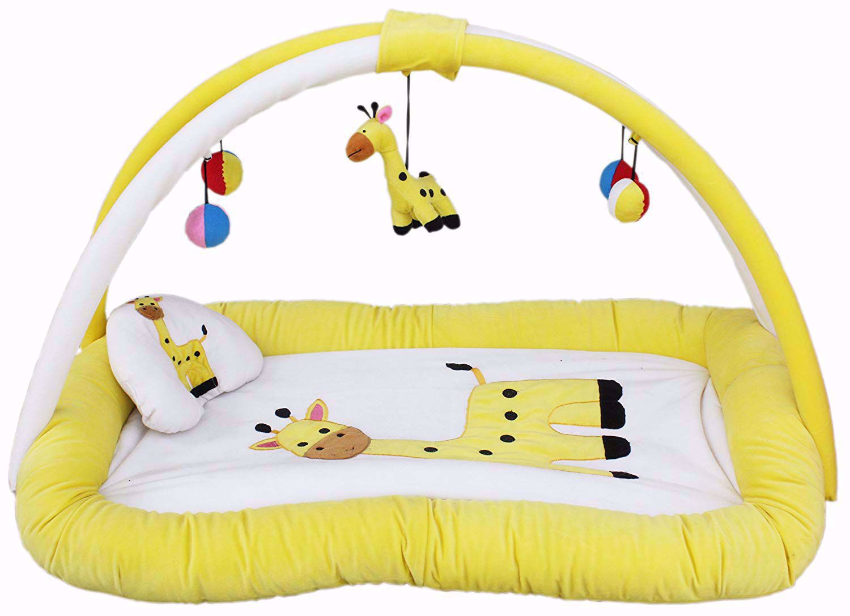 Baby Super Soft Playgym Cum Play Mat, Cream/Lemon,best baby play gym online