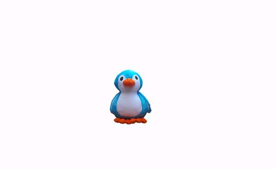 Picture of penguin 18cm blue.