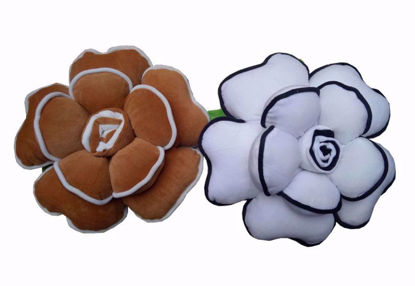 Picture of Flower Pillow Brown, White
