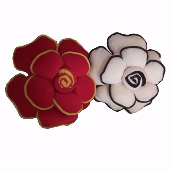 Picture of Flower Pillow (Red-Cream)-