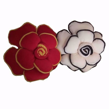 Picture of flower pillow (red-cream)