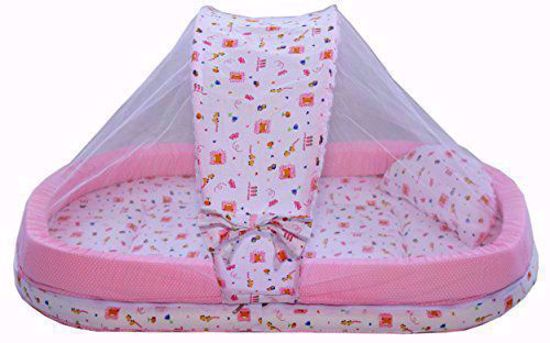 Baby Mattress with Mosquito Net Pink