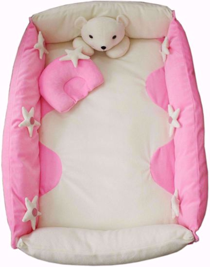 Play Mat With Pillow-Pink And White