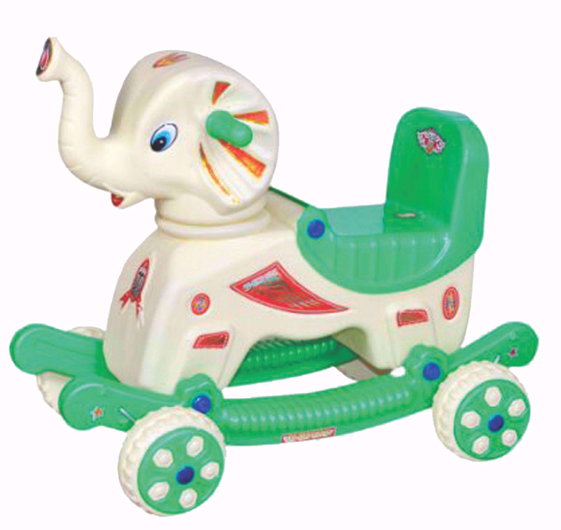 Baby Musical Elephant Rider Cream & Green