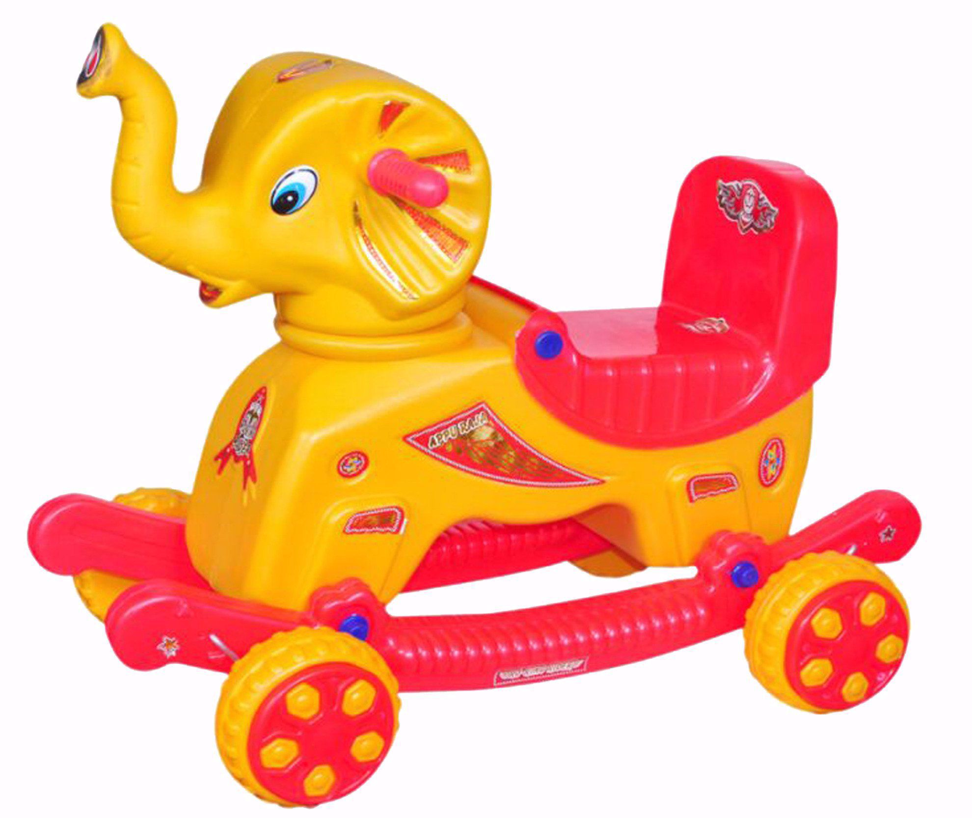 Baby Musical Elephant Rider Yellow & Red
