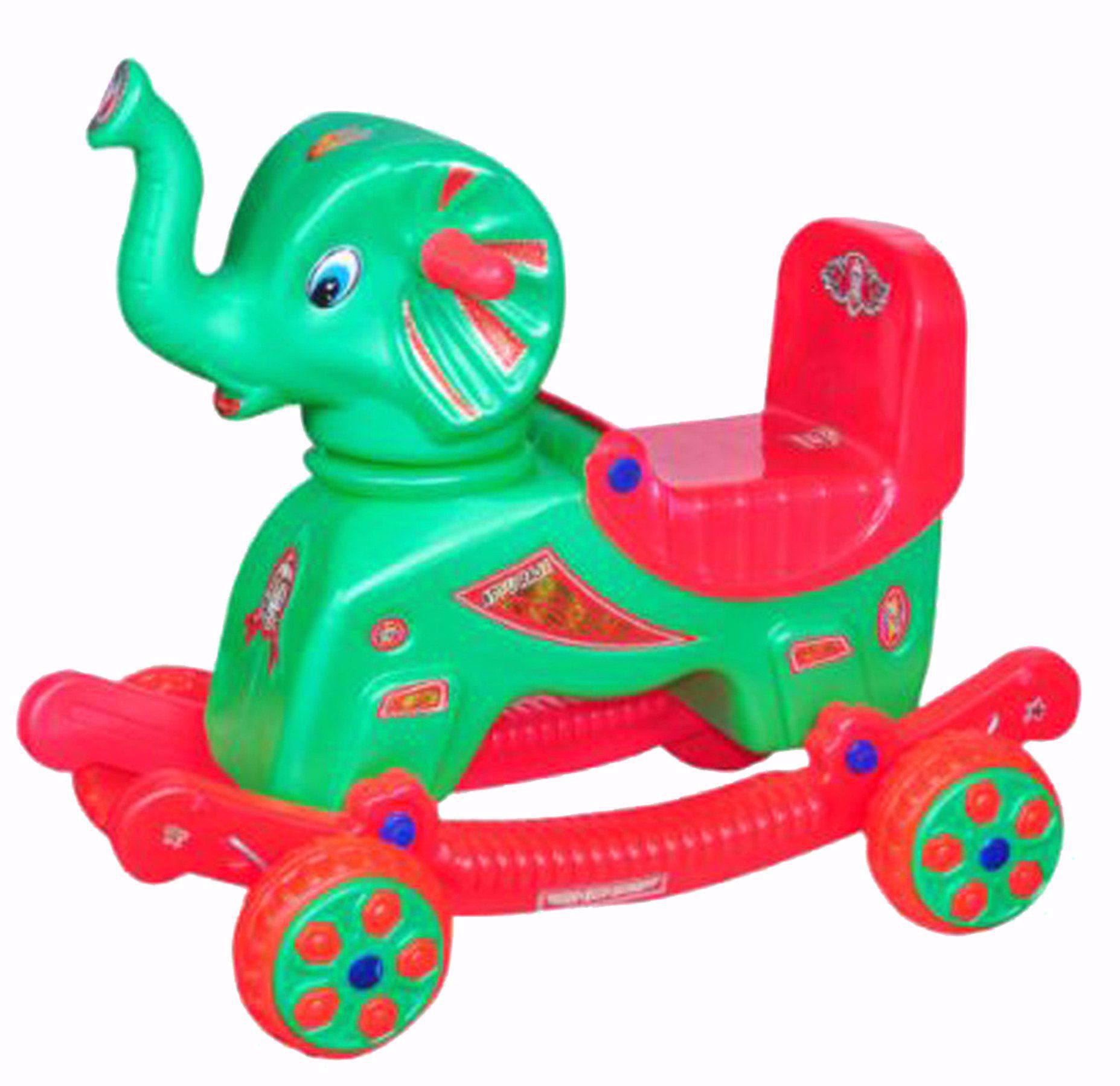 Baby Musical Elephant Rider Green & Red