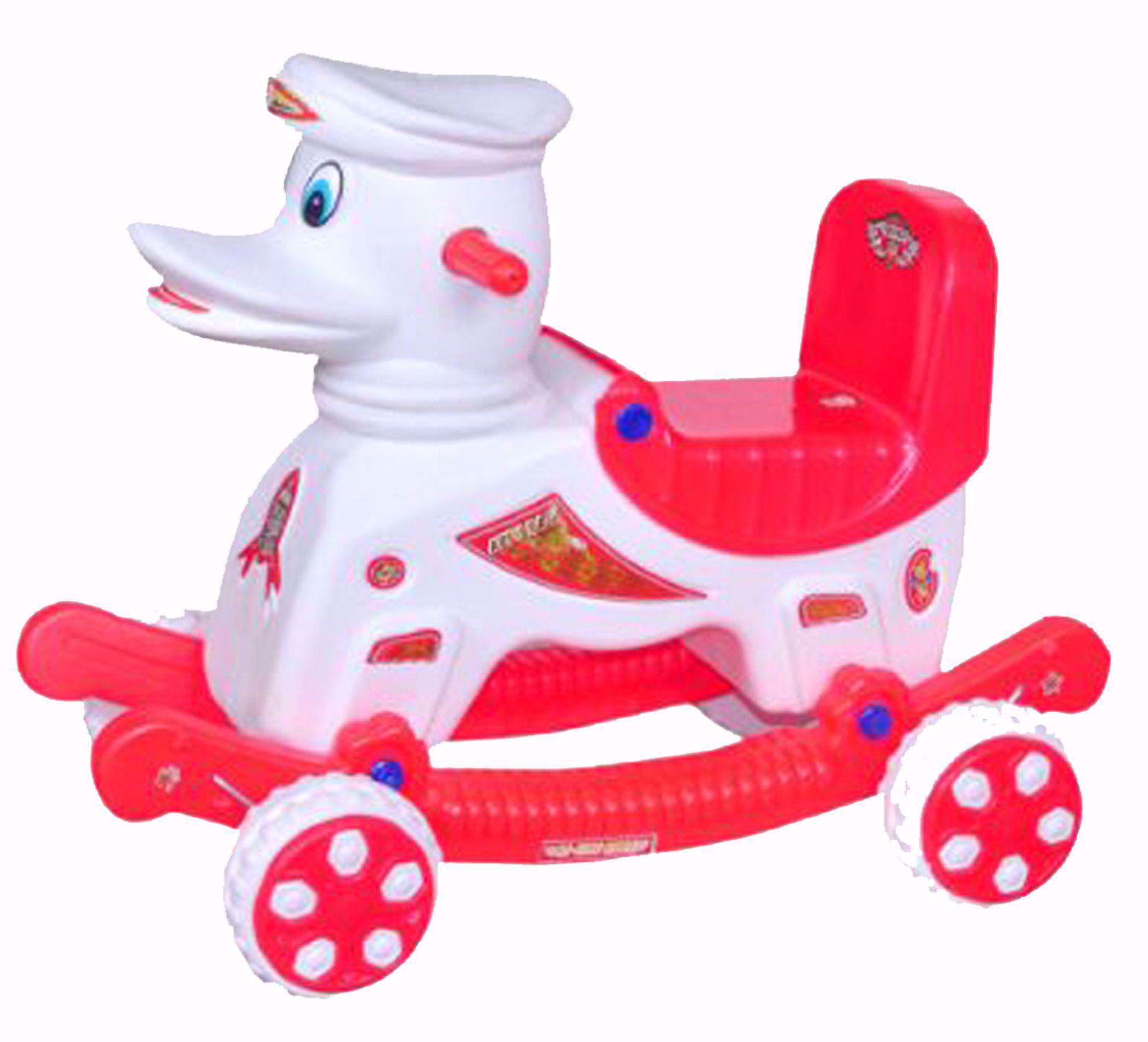 Baby Musical Duck Rider White & Red