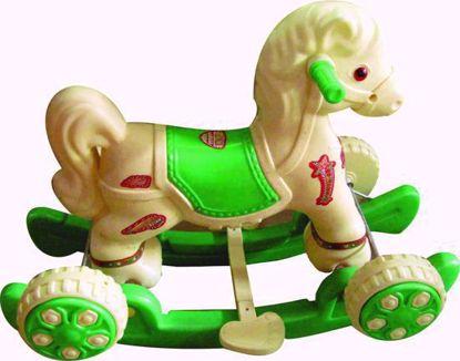 Musical Baby Horse Rider - Cream & Green