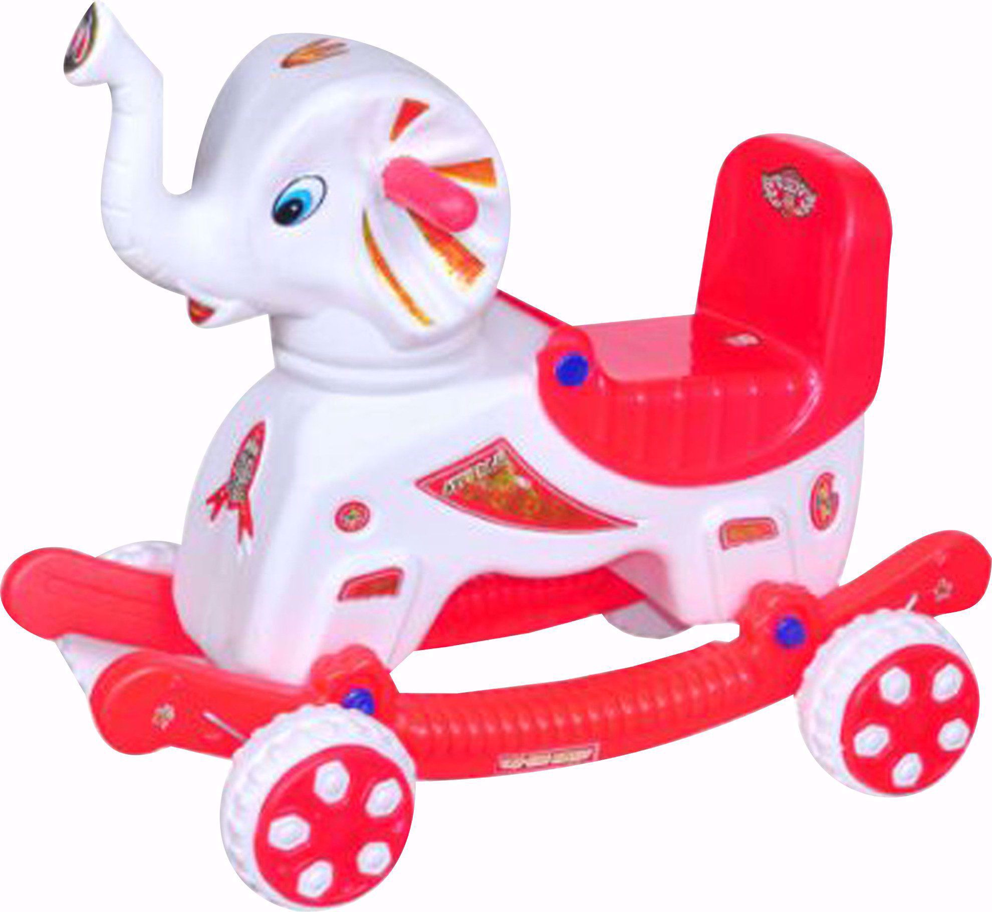 baby Elephant Rider White & Red
