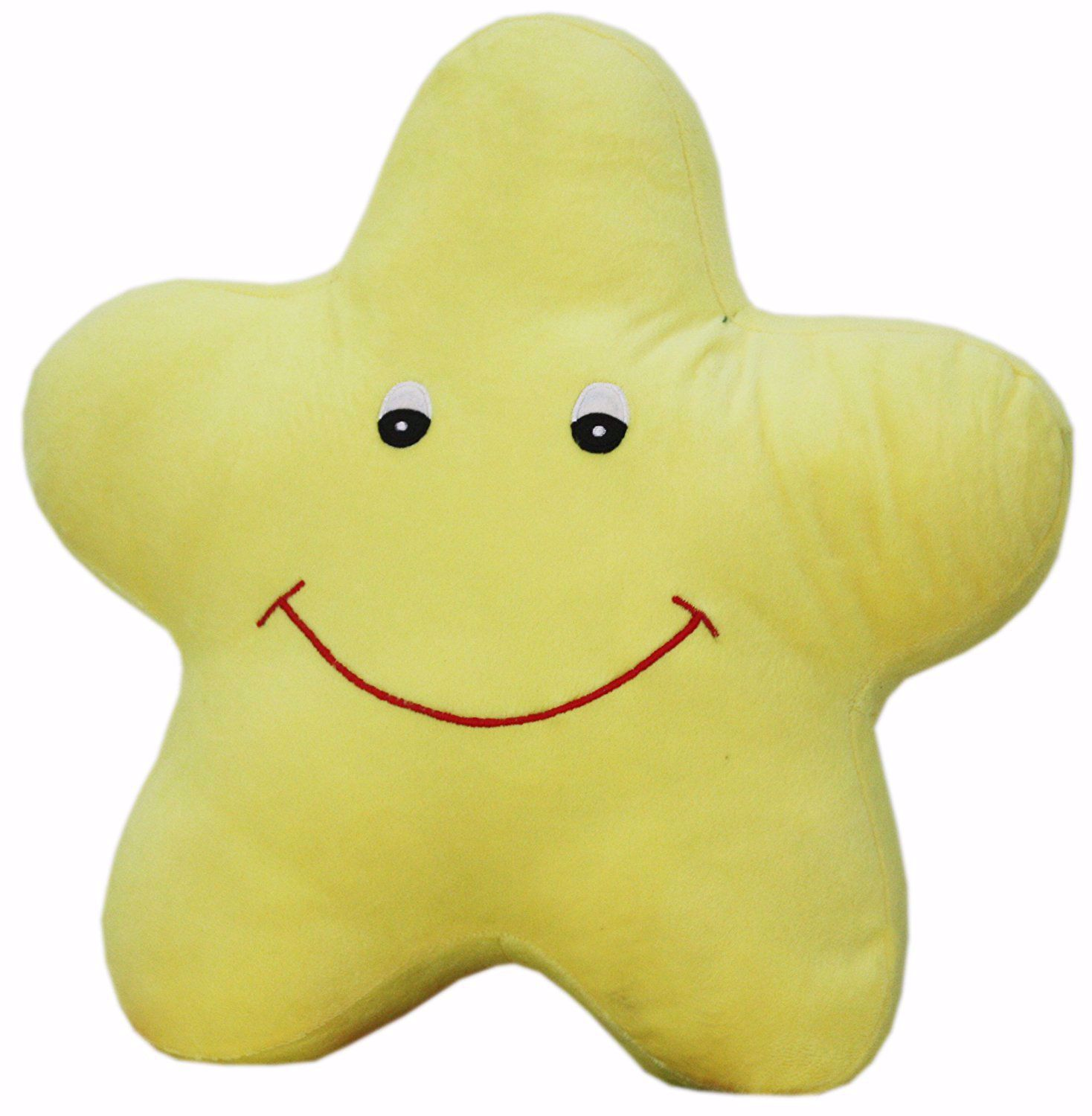 Pillow Smiling Star Plush Stuffed Toys (Yellow, 14x14 Inches),yellow star cushion online