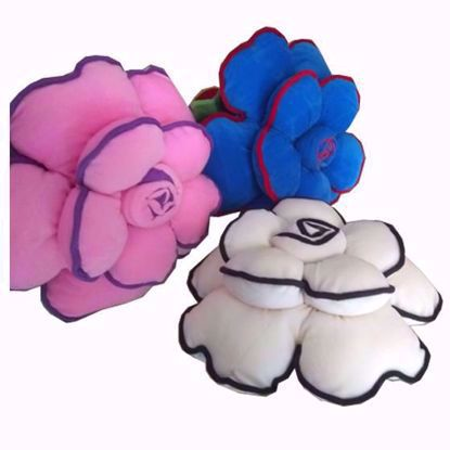 Flower-Pillow-Set-of-3, Pink, Blue, White