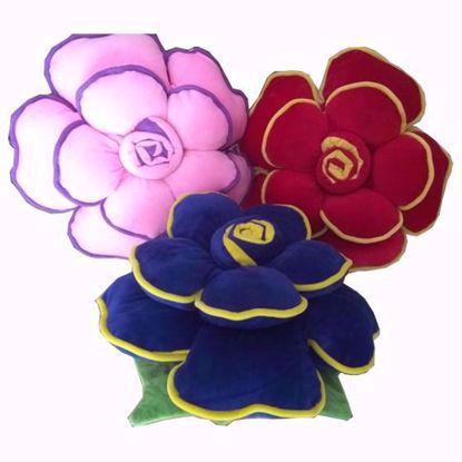 Flower-Pillow-Set-of-3, Pink,  Red, Blue