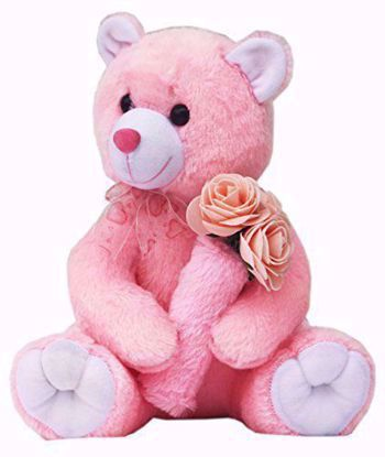 Teddy Bear With Roses- Pink