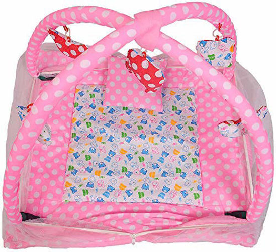 Baby Play Gym with Mosquito Net and Baby Bedding Set -Pink