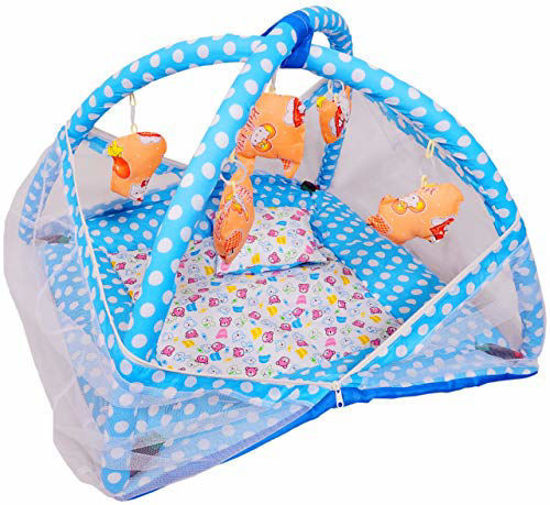 Baby Play Gym with Mosquito Net and Baby Bedding Set -Blue