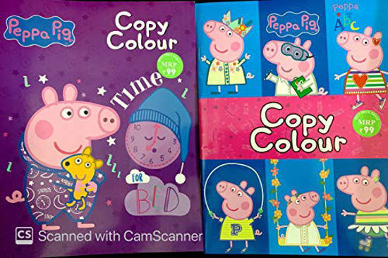 PEPPA PIG COPY COLOUR-Peppa knows her ABC, Peppa time for bed( SET OF TWO BOOKS)