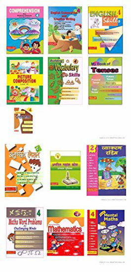 Picture of Scholars Hub Workbook Set For Class 4 English, Hindi, Maths-Set Of 13 Books