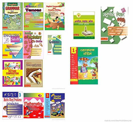 Picture of Scholars Hub Workbook Set For Class 3 English, Hindi, Maths-Set Of 11 Books
