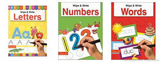 Picture of Wipe and Write Series( Set of 3 books)- Alphabet, Number & Words